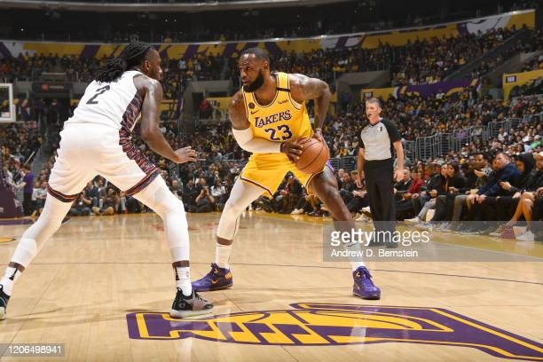 LeBron James of the Los Angeles Lakers handles the ball against the Brooklyn Nets on March 10 2020 at STAPLES Center in Los Angeles California NOTE...
