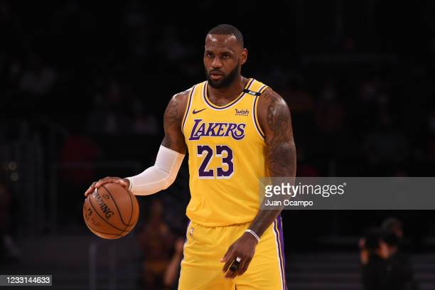 LeBron James of the Los Angeles Lakers handles the ball against the Phoenix Suns during Round 1, Game 3 of the 2021 NBA Playoffs on May 27, 2021 at...