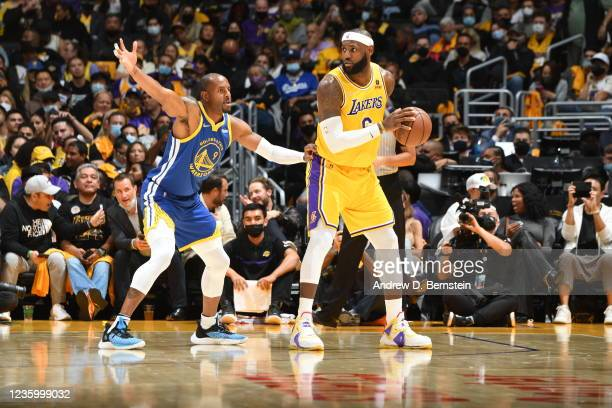 LeBron James of the Los Angeles Lakers handles the ball against the Golden State Warriors on October 19, 2021 at STAPLES Center in Los Angeles,...