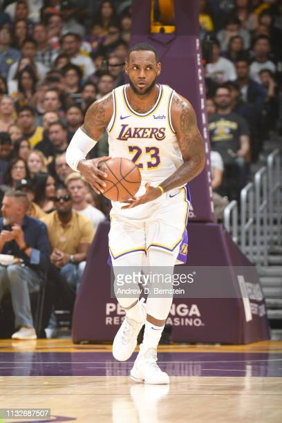 LeBron James of the Los Angeles Lakers handles the ball during the game against the Sacramento Kings on March 24 2019 at STAPLES Center in Los...