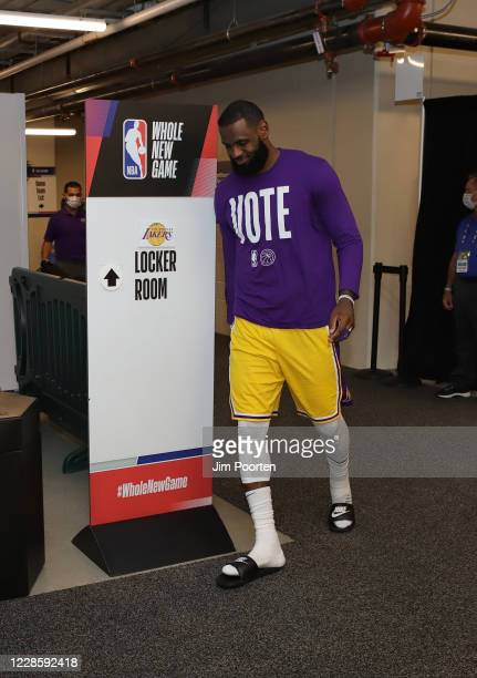 LeBron James of the Los Angeles Lakers heads to the court after halftime against the Denver Nuggets in Game one of the Western Conference Finals of...