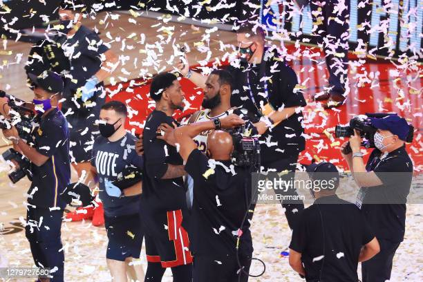 LeBron James of the Los Angeles Lakers hugs Udonis Haslem of the Miami Heat after winning the 2020 NBA Chmpionship in Game Six of the 2020 NBA Finals...