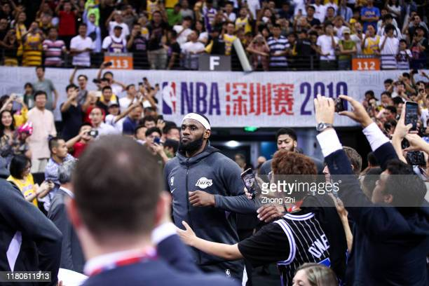 LeBron James of the Los Angeles Lakers in action before the match against the Brooklyn Nets during a preseason game as part of 2019 NBA Global Games...