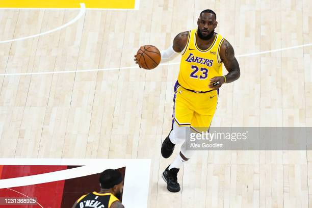 LeBron James of the Los Angeles Lakers in action during a game against the Utah Jazz at Vivint Smart Home Arena on February 24, 2021 in Salt Lake...