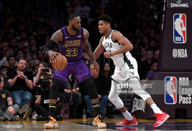 LeBron James of the Los Angeles Lakers is guraded by Giannis Antetokounmpo of the Milwaukee Bucks during the game at Staples Center on March 01 2019...
