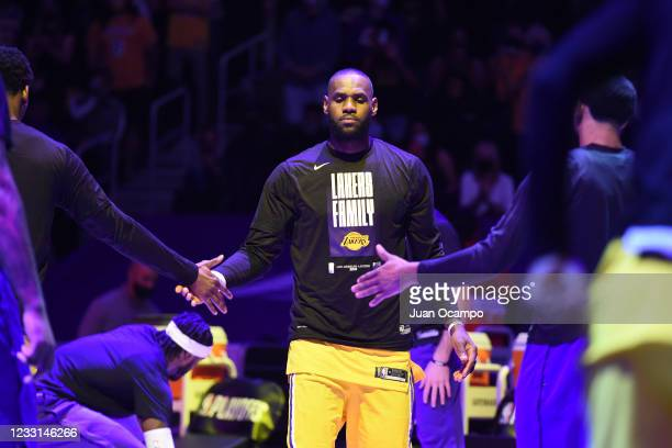 LeBron James of the Los Angeles Lakers is introduced before the game against the Phoenix Suns during Round 1, Game 3 of the 2021 NBA Playoffs on May...