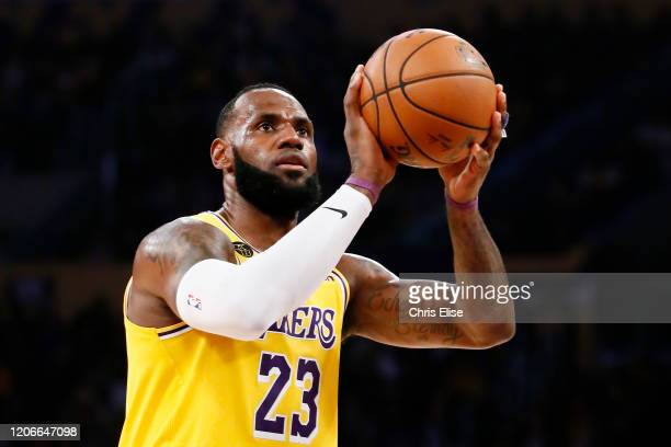 LeBron James of the Los Angeles Lakers is seen at the free throw line during a game against the Brooklyn Nets at the Staples Center on March 10 2020...