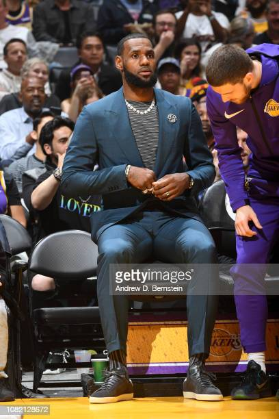 LeBron James of the Los Angeles Lakers is seen during a game against the Cleveland Cavaliers on January 13 2019 at STAPLES Center in Los Angeles...