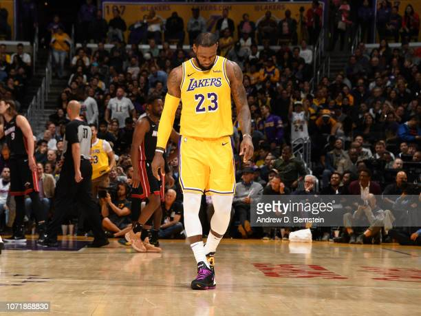 LeBron James of the Los Angeles Lakers is seen during the game against the Miami Heat on December 10 2018 at STAPLES Center in Los Angeles California...