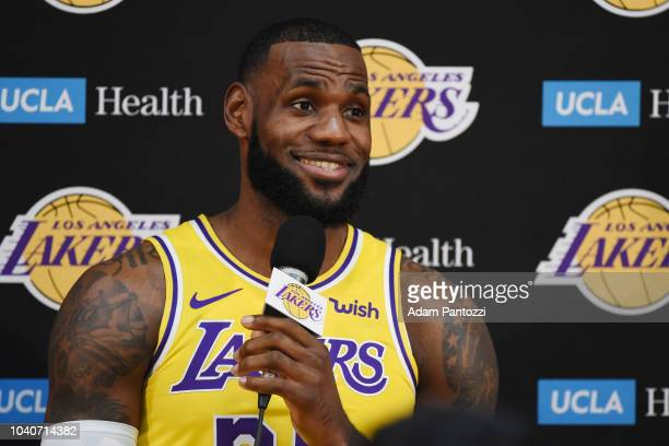 LeBron James of the Los Angeles Lakers is seen talking to the media during media day at UCLA Health Training Center on September 24 2018 in El...