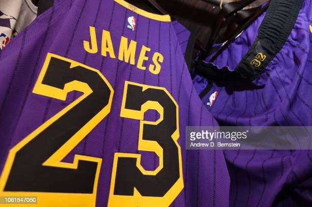 ba0d5f77cce LeBron James of the Los Angeles Lakers jersey is seen in the locker room  prior to