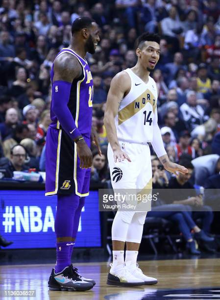 f528ea7b7253 LeBron James of the Los Angeles Lakers laughs with Danny Green of the  Toronto Raptors prior
