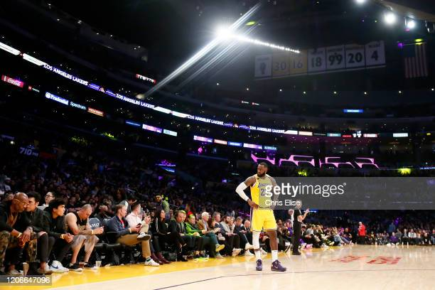 LeBron James of the Los Angeles Lakers looks at the stands during a game against the Brooklyn Nets at the Staples Center on March 10 2020 in Los...
