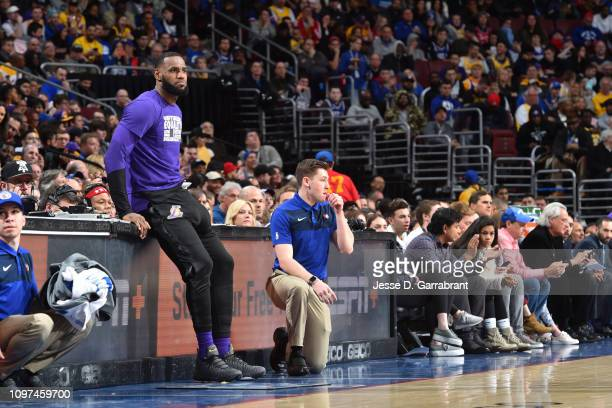 LeBron James of the Los Angeles Lakers looks on against the Philadelphia 76ers on February 10 2019 at the Wells Fargo Center in Philadelphia...