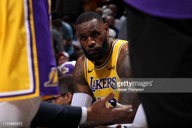 LeBron James of the Los Angeles Lakers looks on against the Atlanta Hawks on February 12 2019 at State Farm Arena in Atlanta Georgia NOTE TO USER...