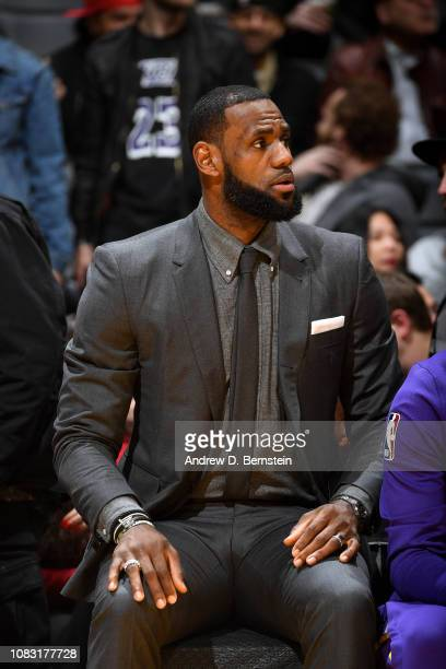 LeBron James of the Los Angeles Lakers looks on against the Chicago Bulls on January 15 2019 at STAPLES Center in Los Angeles California NOTE TO USER...