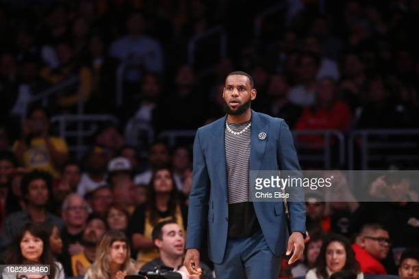 LeBron James of the Los Angeles Lakers looks on against the Cleveland Cavaliers on January 13 2019 at STAPLES Center in Los Angeles California NOTE...