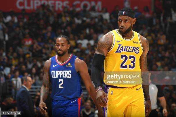 LeBron James of the Los Angeles Lakers looks on against the LA Clippers on October 22 2019 at STAPLES Center in Los Angeles California NOTE TO USER...