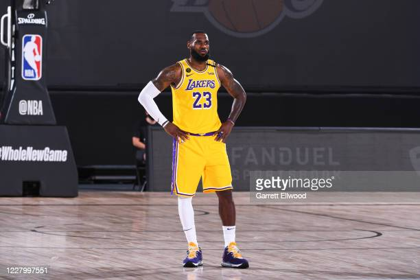 LeBron James of the Los Angeles Lakers looks on against the Denver Nuggets on August 10 2020 at The AdventHealth Arena in Orlando Florida NOTE TO...