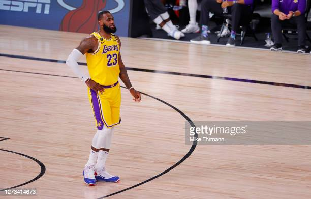 LeBron James of the Los Angeles Lakers looks on against the Denver Nuggets during the third quarter in Game One of the Western Conference Finals...