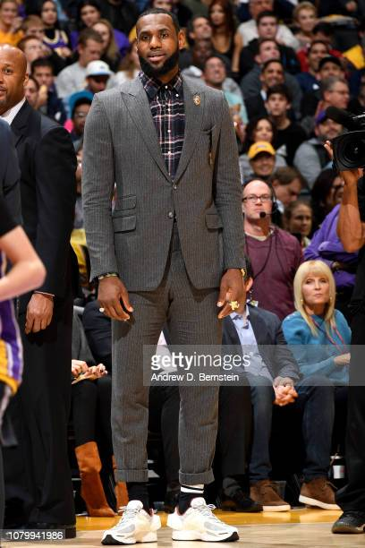 LeBron James of the Los Angeles Lakers looks on against the Detroit Pistons on January 9 2019 at STAPLES Center in Los Angeles California NOTE TO...