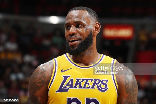 LeBron James of the Los Angeles Lakers looks on against the Miami Heat on November 18 2018 at American Airlines Arena in Miami Florida NOTE TO USER...