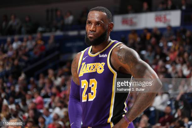 LeBron James of the Los Angeles Lakers looks on against the New Orleans Pelicans on February 23 2019 at the Smoothie King Center in New Orleans...