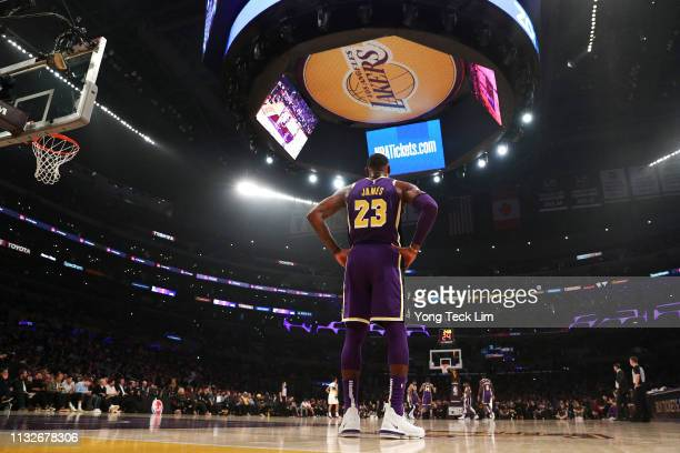 LeBron James of the Los Angeles Lakers looks on against the New Orleans Pelicans during the first half at Staples Center on February 27 2019 in Los...