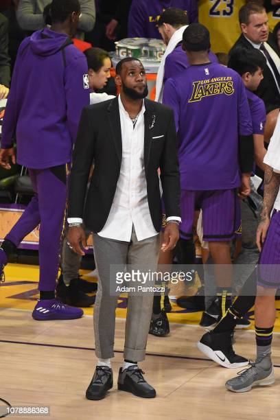 LeBron James of the Los Angeles Lakers looks on against the New York Knicks on January 4 2019 at STAPLES Center in Los Angeles California NOTE TO...