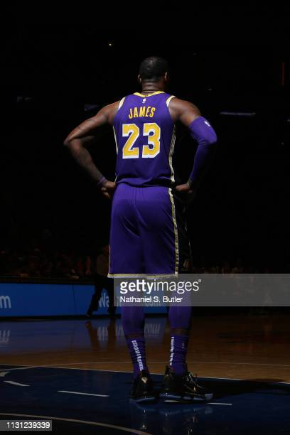 LeBron James of the Los Angeles Lakers looks on against the New York Knicks on March 17 2019 at Madison Square Garden in New York City New York NOTE...
