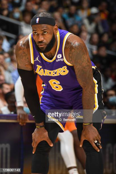 LeBron James of the Los Angeles Lakers looks on against the Phoenix Suns on October 22, 2021 at STAPLES Center in Los Angeles, California. NOTE TO...