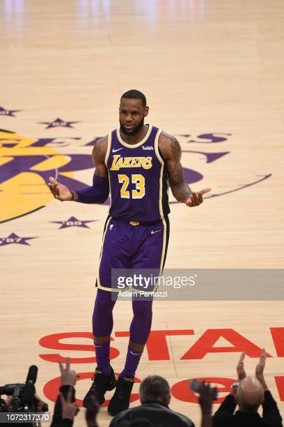 LeBron James of the Los Angeles Lakers looks on against the San Antonio Spurs on December 5 2018 at STAPLES Center in Los Angeles California NOTE TO...