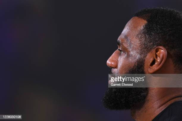 LeBron James of the Los Angeles Lakers looks on before the game on August 13 2020 at The Field House in Orlando Florida NOTE TO USER User expressly...