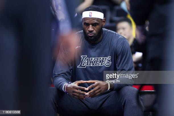 LeBron James of the Los Angeles Lakers looks on before the match against the Brooklyn Nets during a preseason game as part of 2019 NBA Global Games...