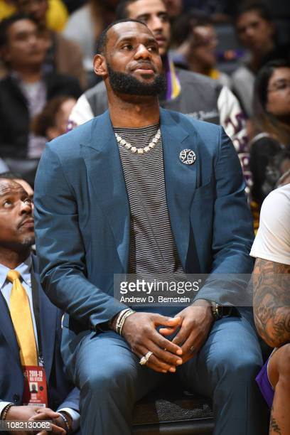 LeBron James of the Los Angeles Lakers looks on during a game against the Cleveland Cavaliers on January 13 2019 at STAPLES Center in Los Angeles...