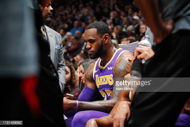LeBron James of the Los Angeles Lakers looks on during a game against the Toronto Raptors on March 14 2019 at the Scotiabank Arena in Toronto Ontario...