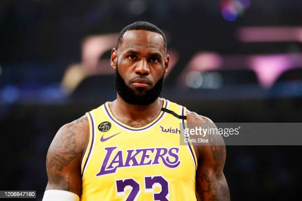 LeBron James of the Los Angeles Lakers looks on during a game against the Brooklyn Nets at the Staples Center on March 10 2020 in Los Angeles CA NOTE...