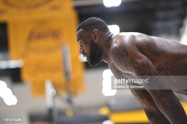 LeBron James of the Los Angeles Lakers looks on during all access practice on December 21, 2019 at UCLA Health Training Center in El Segundo,...