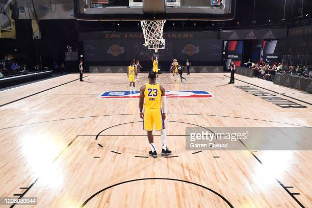 LeBron James of the Los Angeles Lakers looks on during the game on August 13 2020 at The Field House in Orlando Florida NOTE TO USER User expressly...
