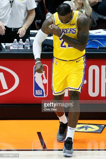 LeBron James of the Los Angeles Lakers looks on during the game against the Denver Nuggets on September 30 2018 at Valley View Casino Center in San...