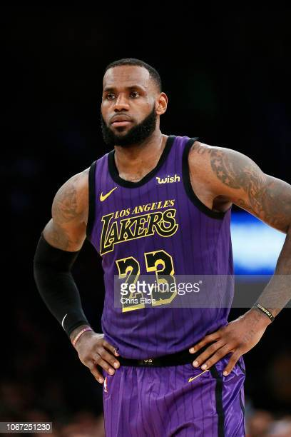 LeBron James of the Los Angeles Lakers looks on during the game against the Utah Jazz on November 23 2018 at the STAPLES Center in Los Angeles...