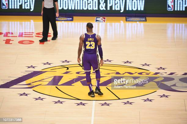 LeBron James of the Los Angeles Lakers looks on during the game against the San Antonio Spurs on December 5 2018 at STAPLES Center in Los Angeles...
