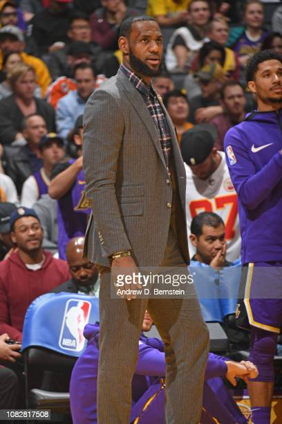 LeBron James of the Los Angeles Lakers looks on during the game against the Detroit Pistons on January 9 2019 at STAPLES Center in Los Angeles...