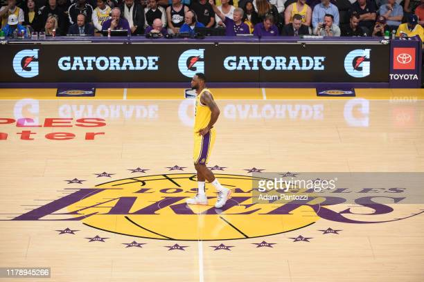 LeBron James of the Los Angeles Lakers looks on during the game against the Memphis Grizzlies on October 29 2019 at STAPLES Center in Los Angeles...