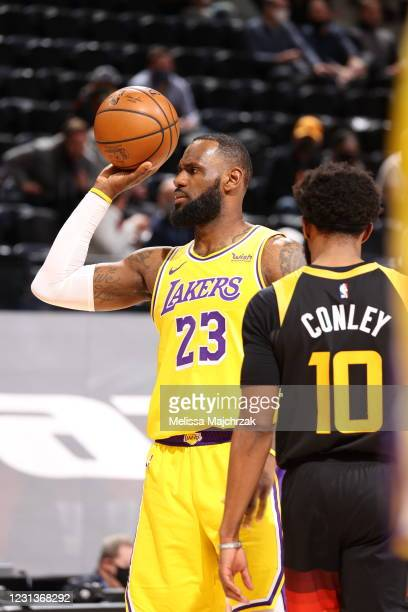 LeBron James of the Los Angeles Lakers looks on during the game against the Utah Jazz on February 24, 2021 at vivint.SmartHome Arena in Salt Lake...