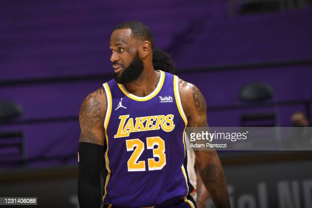 LeBron James of the Los Angeles Lakers looks on during the game against the Portland Trail Blazers on February 26, 2021 at STAPLES Center in Los...