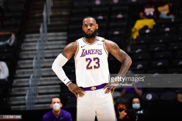 LeBron James of the Los Angeles Lakers looks on during the game against the Toronto Raptors on May 2, 2021 at STAPLES Center in Los Angeles,...
