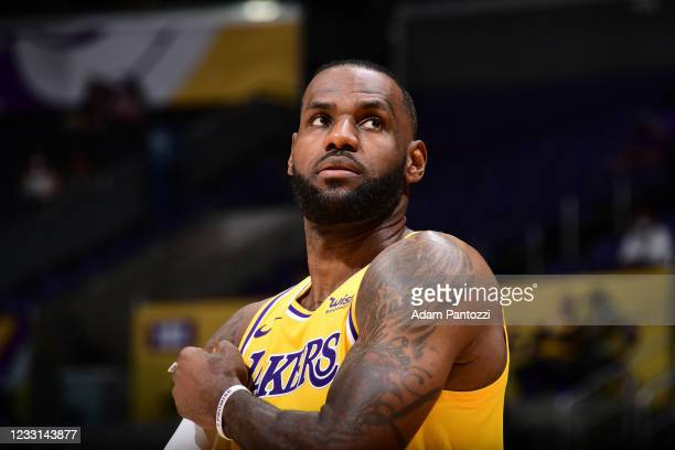LeBron James of the Los Angeles Lakers looks on during the game against the Phoenix Suns during Round 1, Game 3 of the 2021 NBA Playoffs on May 27,...