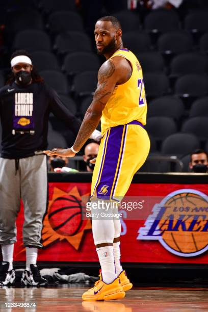 LeBron James of the Los Angeles Lakers looks on during the game against the Phoenix Suns during Round 1, Game 2 of the 2021 NBA Playoffs on May 25,...
