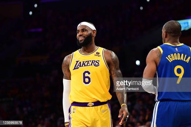 LeBron James of the Los Angeles Lakers looks on during the game against the Golden State Warriors on October 19, 2021 at STAPLES Center in Los...